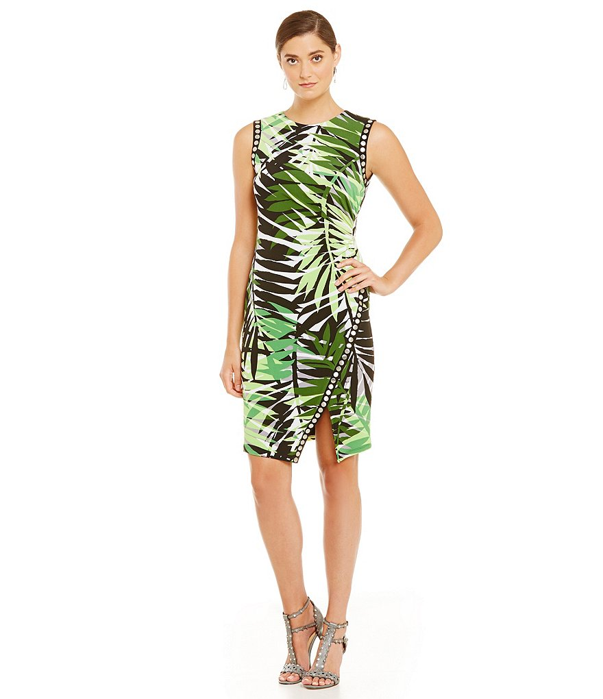 London Times Palm-Print Studded Sheath Dress
