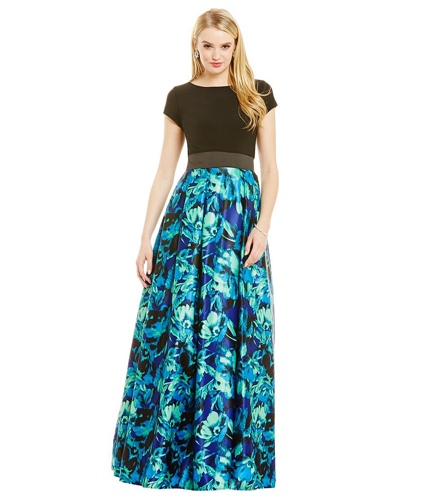 Betsy and Adam Printed Skirt Ball Gown