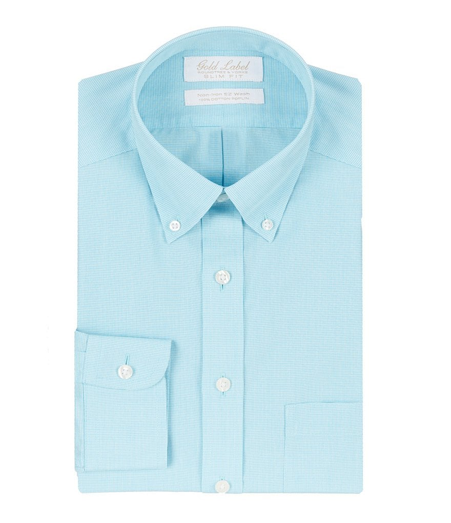 Gold Label Roundtree & Yorke Non-Iron Slim-Fit Micro Check Button-Down Collar Dress Shirt