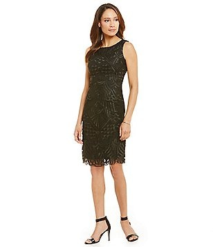 Leslie Fay Embroidered Mesh Sheath Sleeveless Dress