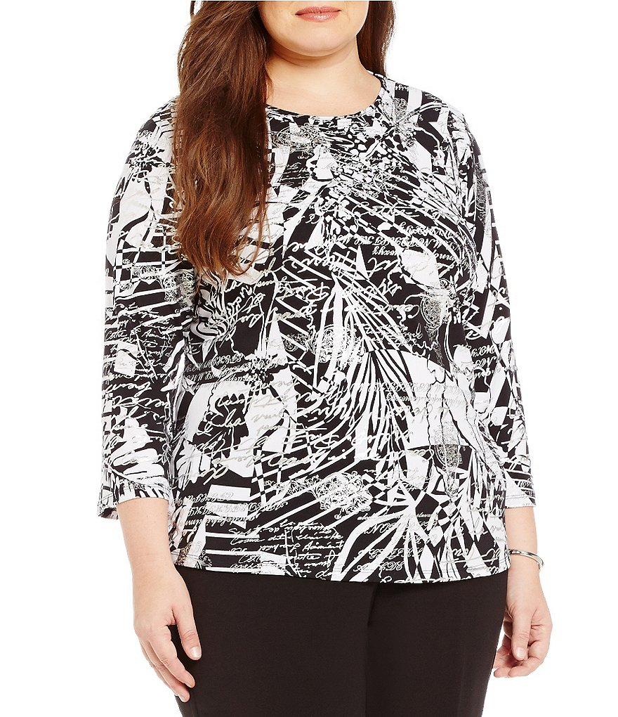 Allison Daley Plus Crew-Neck 3/4 Sleeve Printed Knit Top