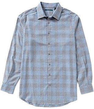 Perry Ellis Big & Tall Long-Sleeve Heathered Check Woven Shirt