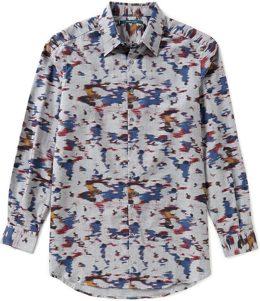 Perry Ellis Big & Tall Long-Sleeve Printed Woven Shirt