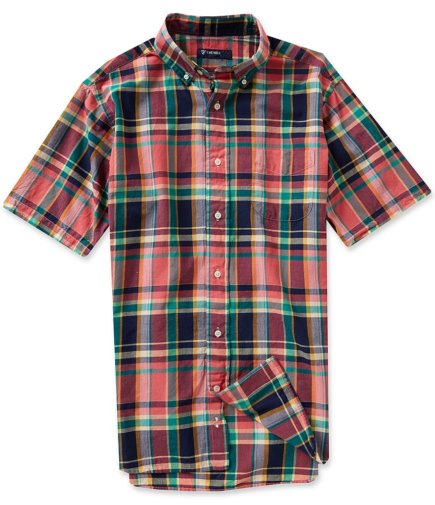 Cremieux Short-Sleeve Plaid Madras Woven Shirt