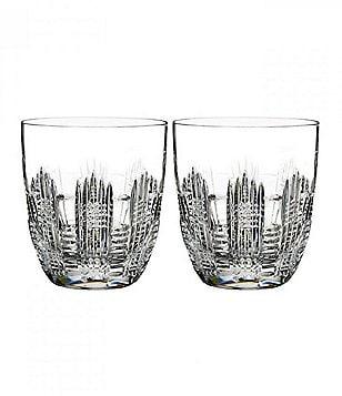 Waterford Dungarvan 1950s Crystal Double Old Fashioned Glass Pair