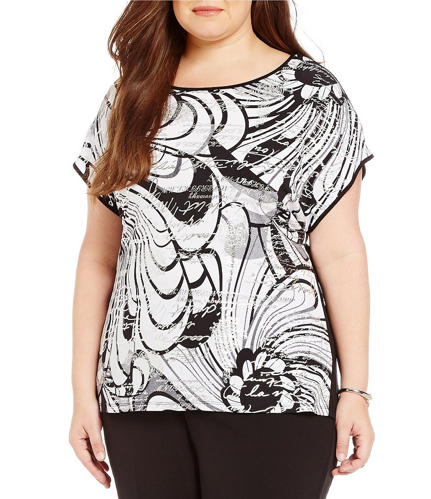 Allison Daley Plus Wide Crew-Neck High-Low Hem Printed Tunic