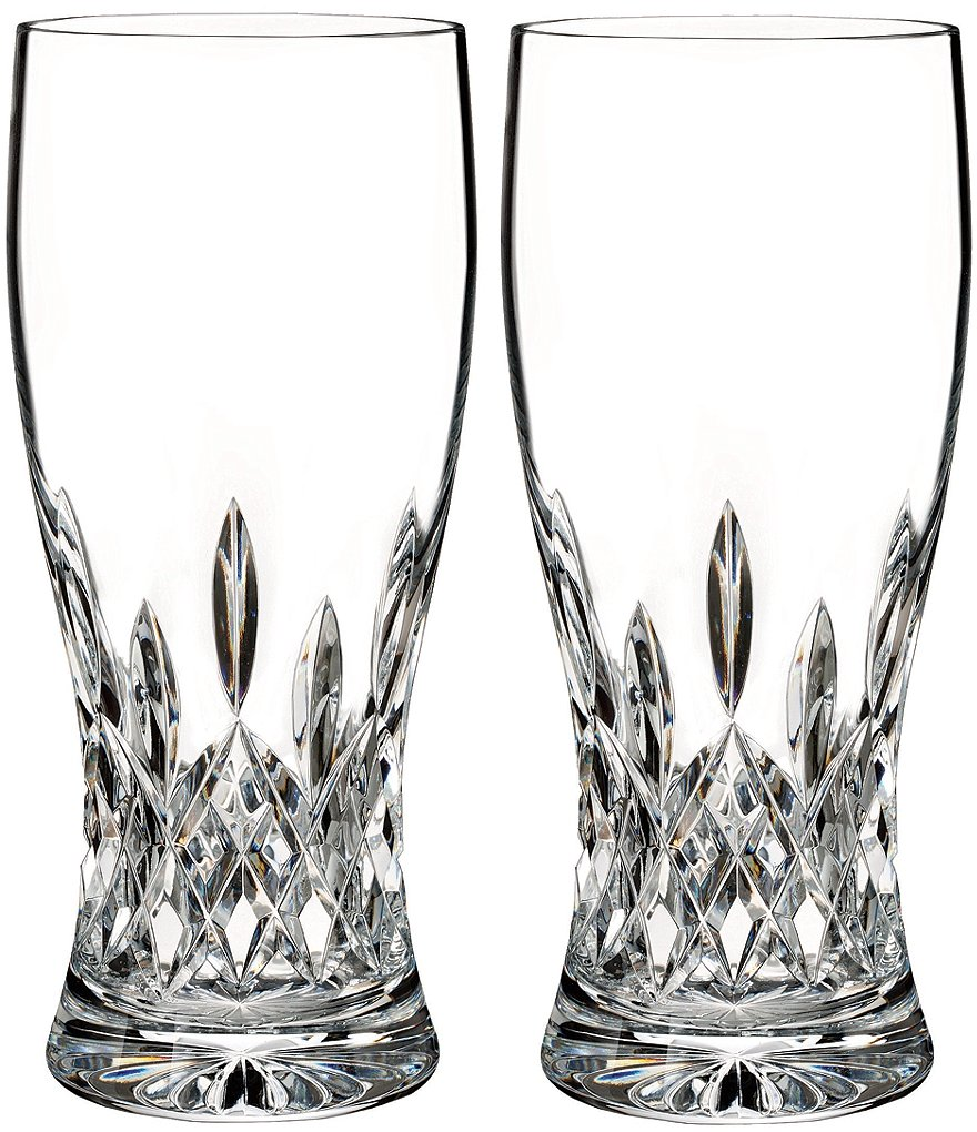 Waterford Lismore Crystal Pint Beer Glass Pair