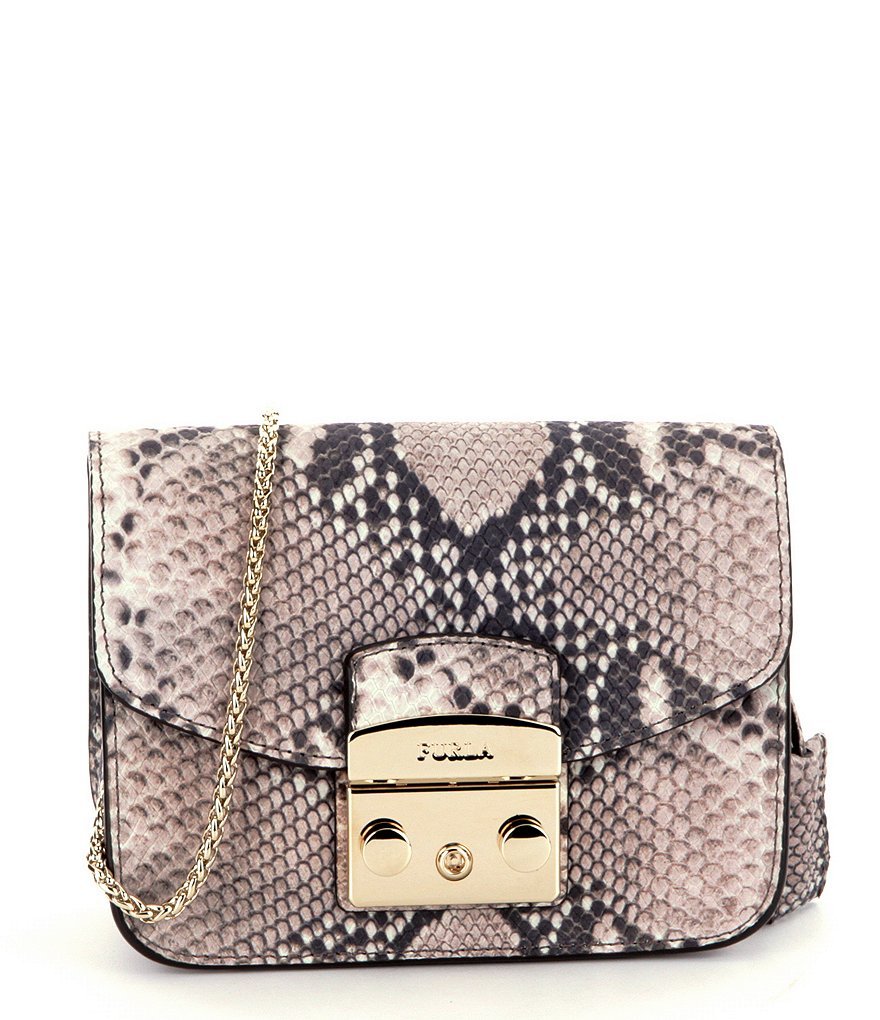 Furla Metropolis Snake-Embossed Mini Cross-Body Bag with Chain Strap