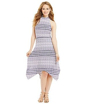 Jessica Simpson Mock Neck Hanky Hem Dress