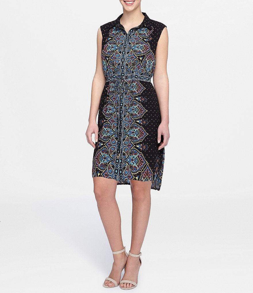 Tahari ASL Scarf-Print Shirt Dress