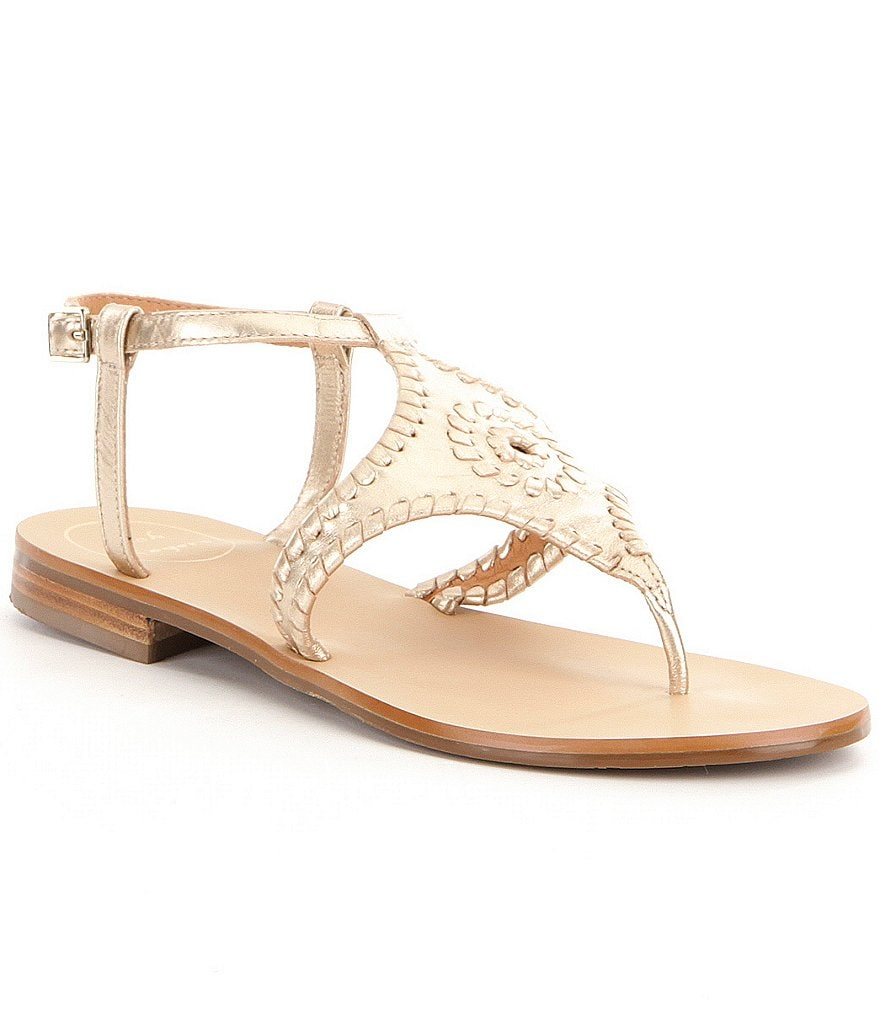 Jack Rogers Maci Leather Whipstitched Ankle Strap Flat Thong Sandals