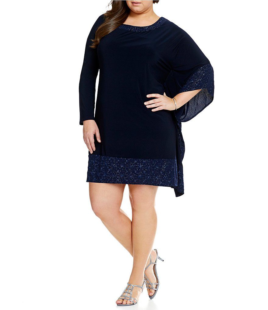R & M Richards Plus Glitter Band Poncho Dress
