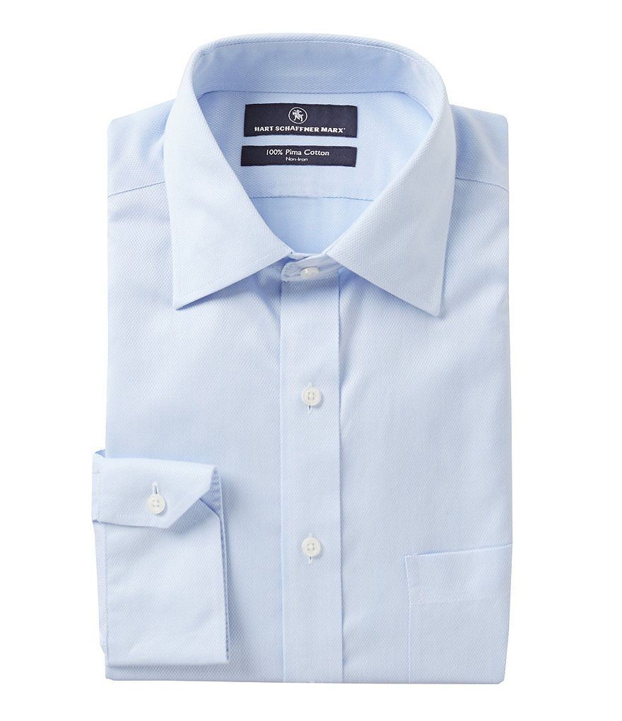 Hart Schaffner Marx Non-Iron Regular Classic-Fit Spread-Collar Solid Dress Shirt