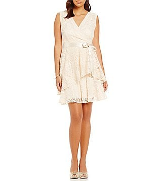 Tahari ASL V-Neck Sleeveless Faux-Wrap Tiered Lace Dress