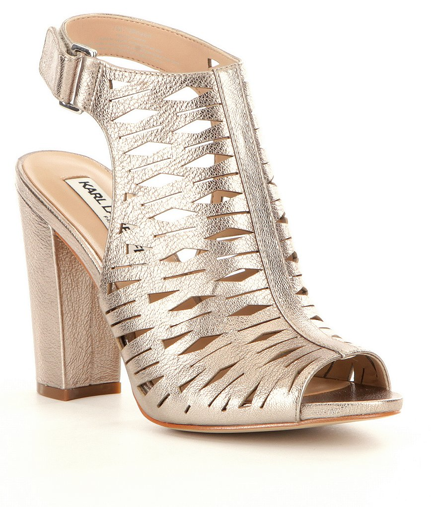 Karl Lagerfeld Paris Rennes Metallic Leather Laser Cut Block Heel Sandals