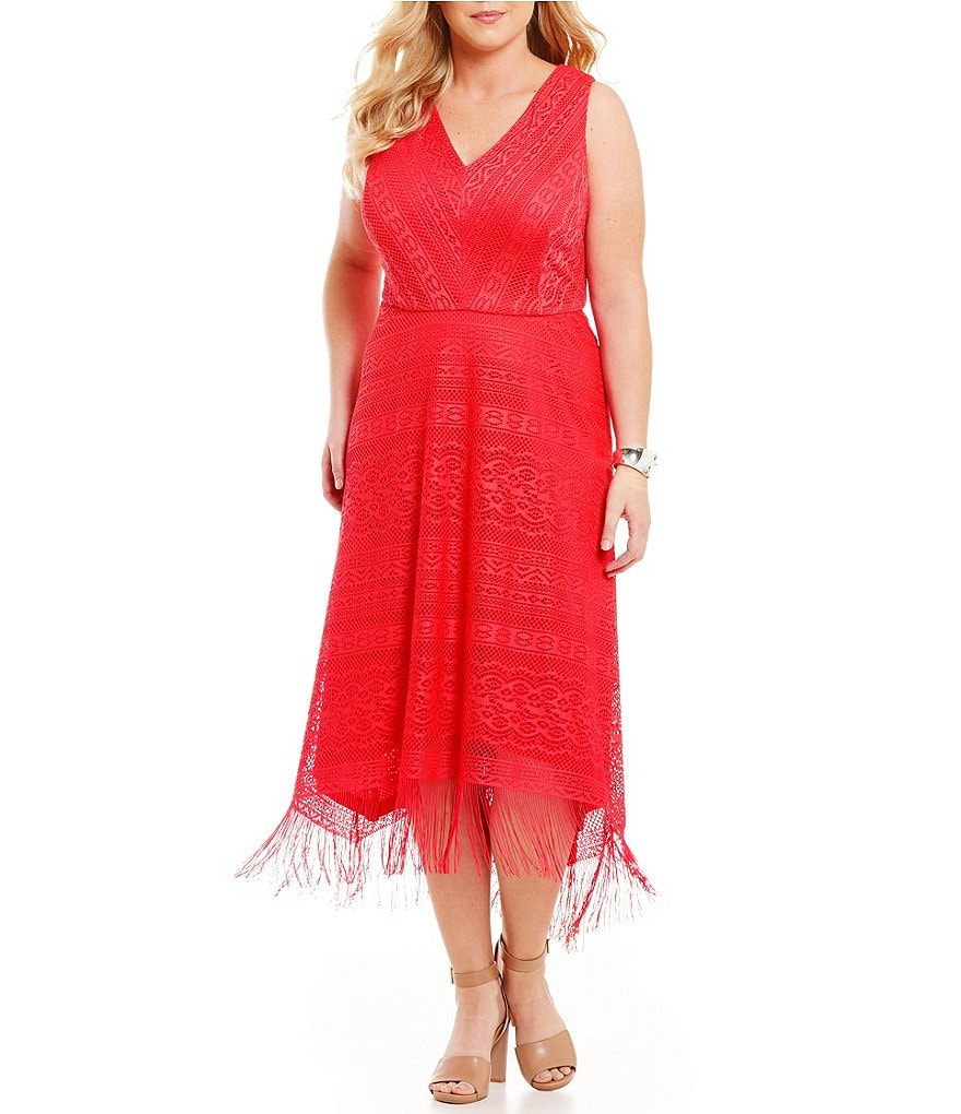 London Times Plus Geo Stripe Fringe Fit and Flare Dress