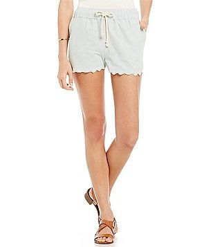 Coco + Jaimeson Lace Trim Pin Stripe Drawstring Shorts