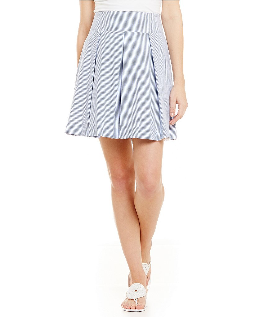Lauren James Pleated Seersucker Skirt