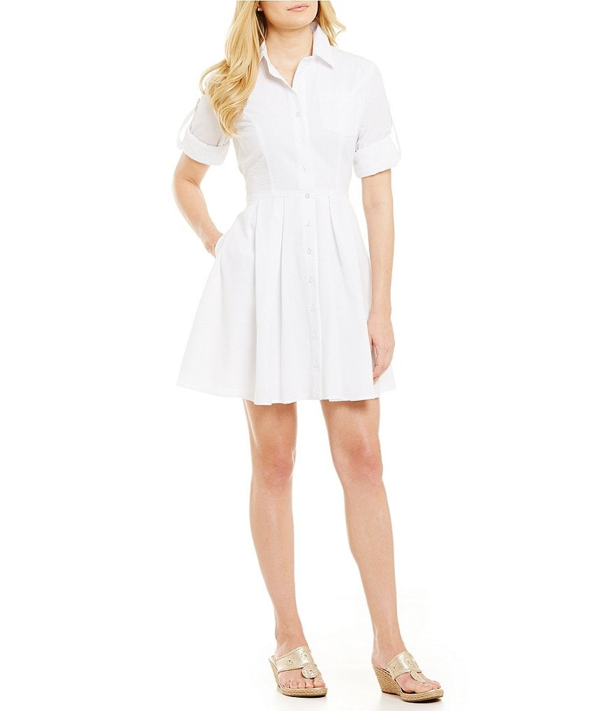 Lauren James Taylor Oxford Button-Front Shirt Dress