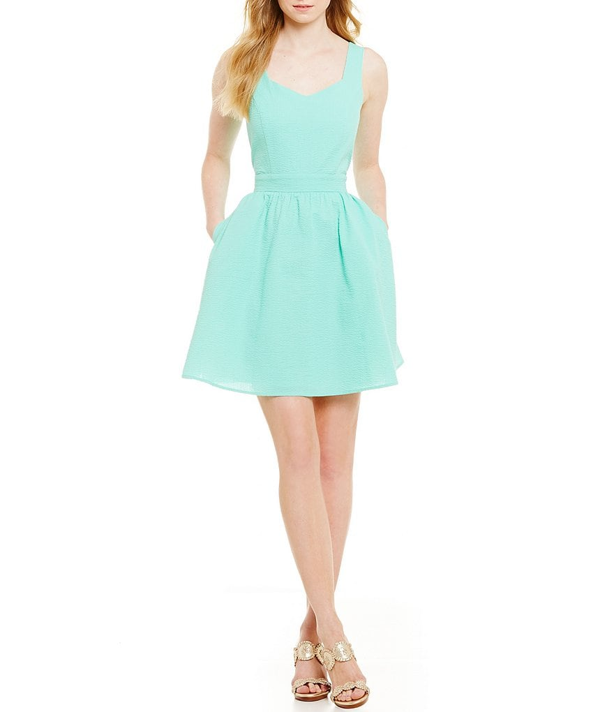 Lauren James Garrison Tie-Back Fit-and-Flare Dress