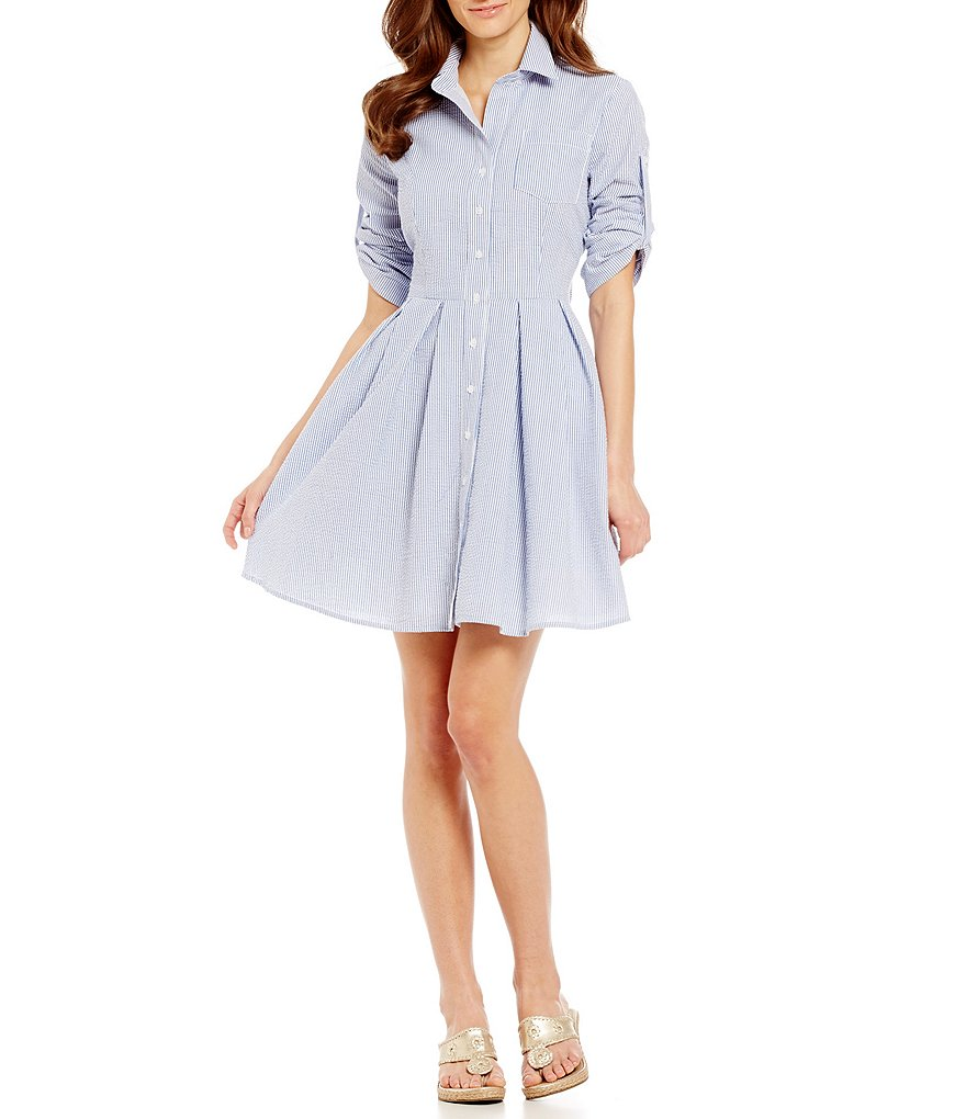 Lauren James Taylor Striped Seersucker Bow-Back Shirt Dress