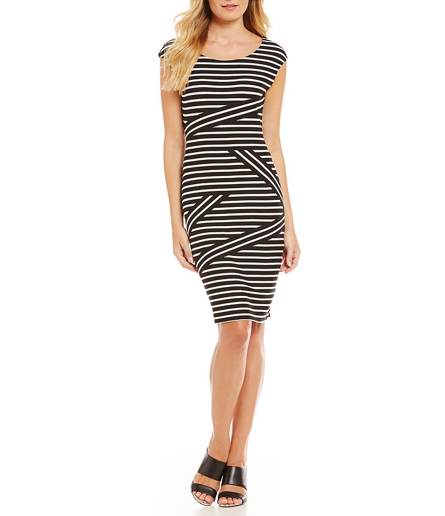 Calvin Klein Diagonal Placement Stripe Mix Knit Jersey Sheath Dress
