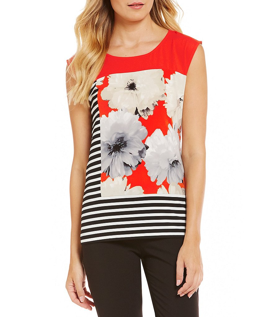 Calvin Klein Extended Shoulder Pieced Print Matte Jersey Top