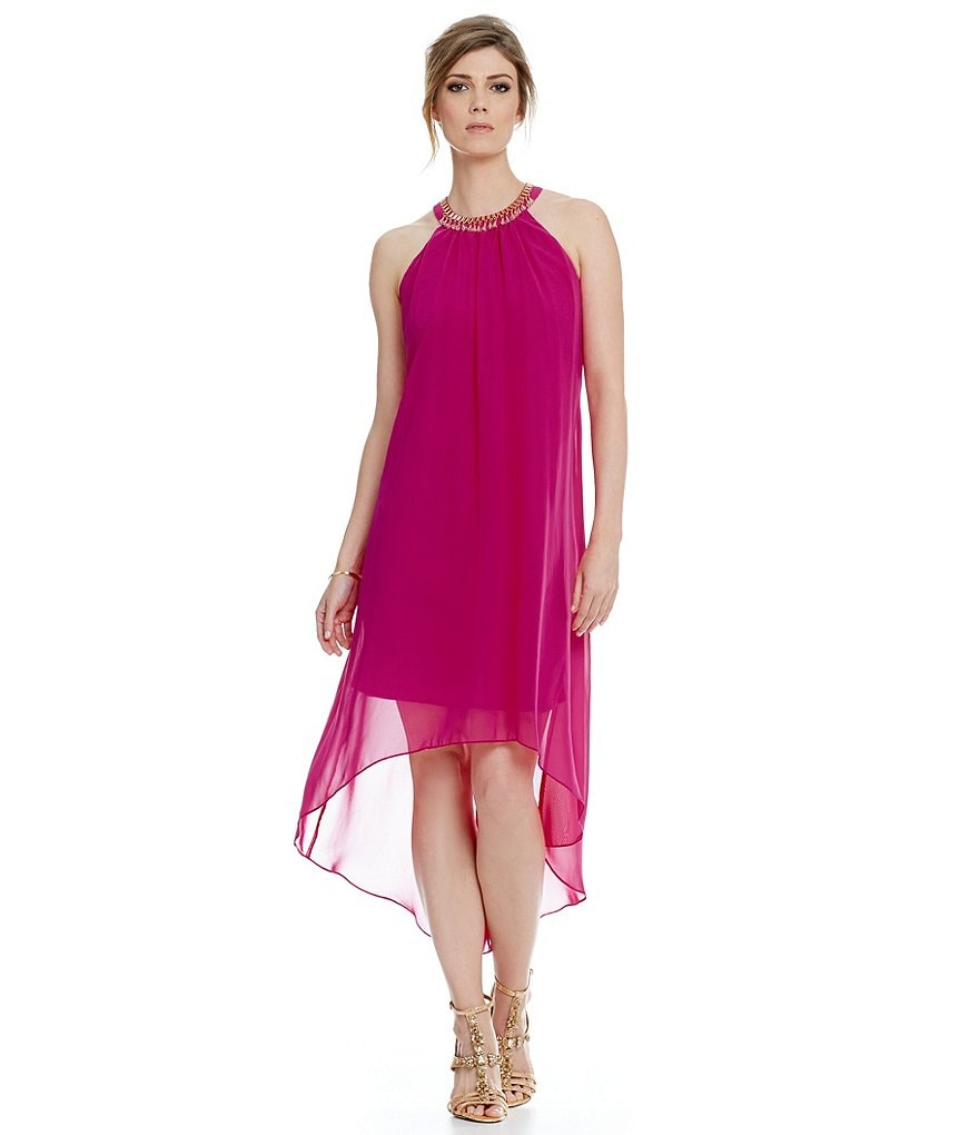S.L. Fashions Beaded Halter Neck High-Low Dress