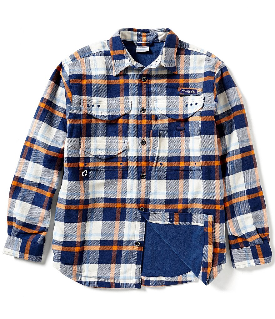Columbia PFG Bonehead™ Plaid Flannel Long-Sleeve Microfleece-Lined Shirt Jacket