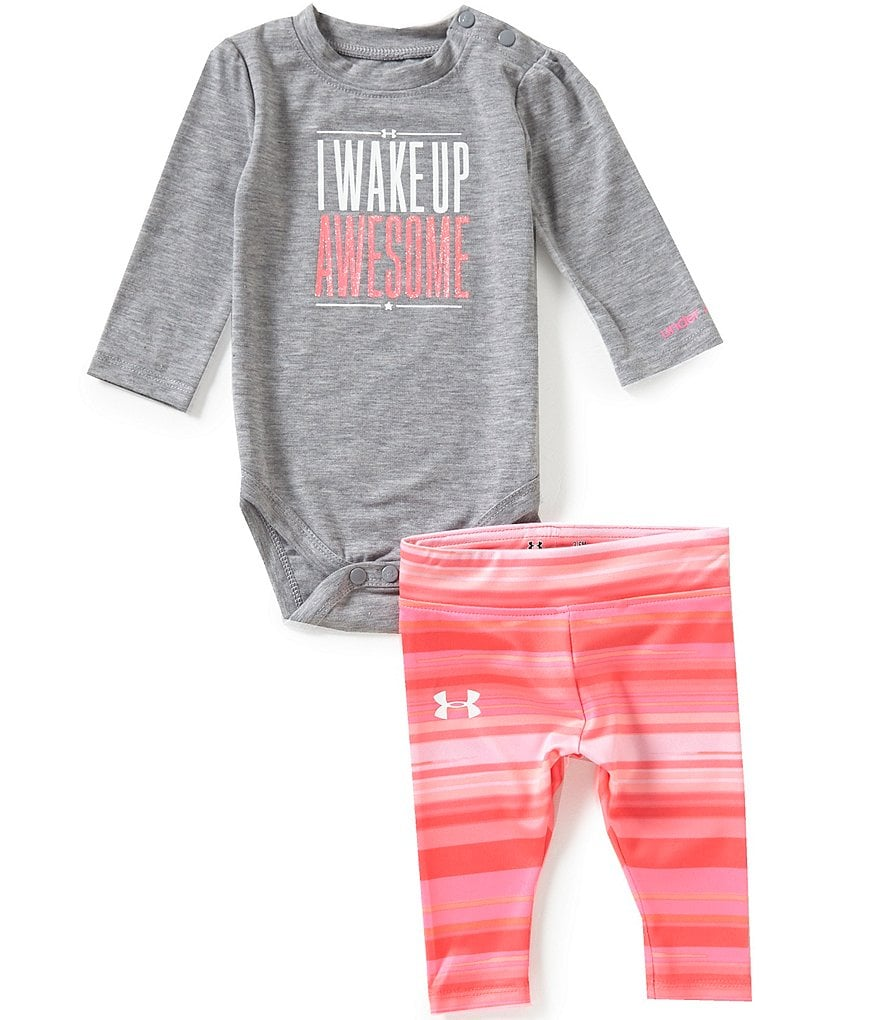 Under Armour Baby Girls Newborn-12 Months I Wake Up Awesome Long-Sleeve Bodysuit & Striped Pants Set