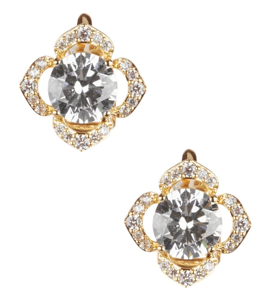Nadri Flower Clip-On Stud Earrings