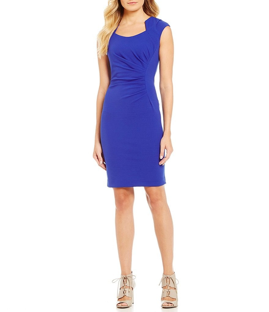 Calvin Klein Side-Ruched Luxe Sheath Dress