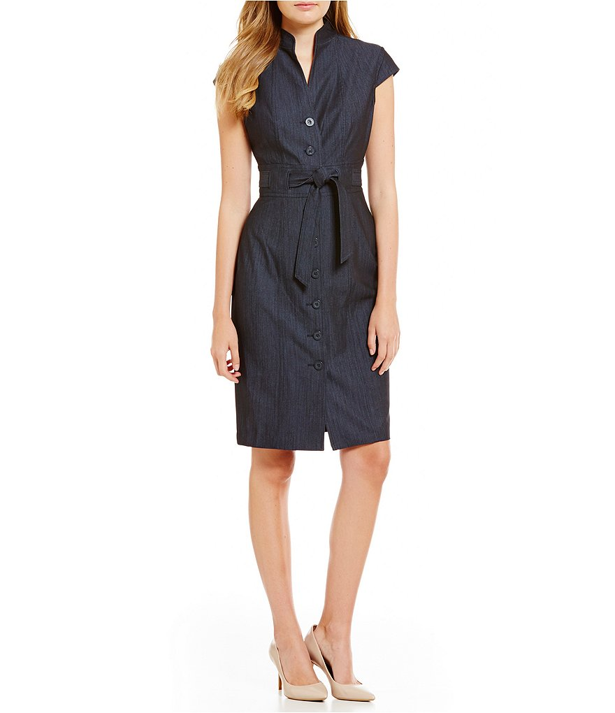 Calvin Klein Belted Cap-Sleeve Denim Shirt Dress