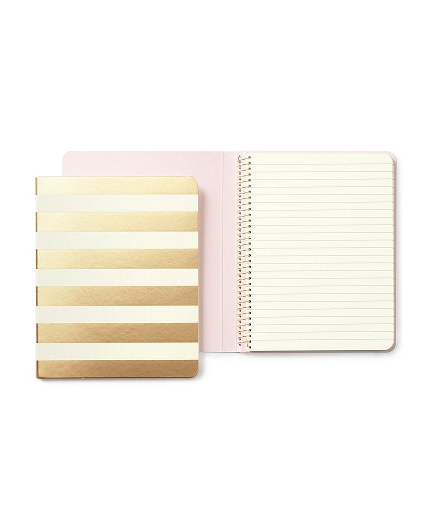 kate spade new york Gifts Gold Stripe Spiral Notebook