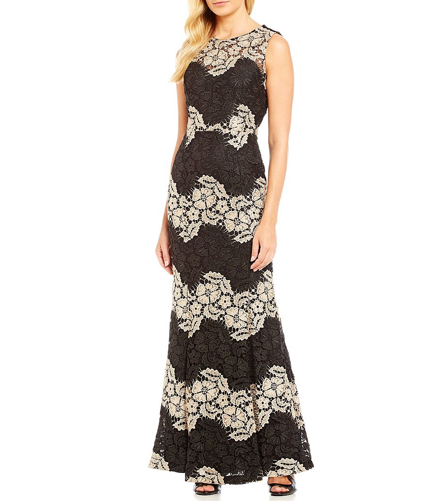 Calvin Klein Two-Tone Sleeveless Round Neck Lace Gown