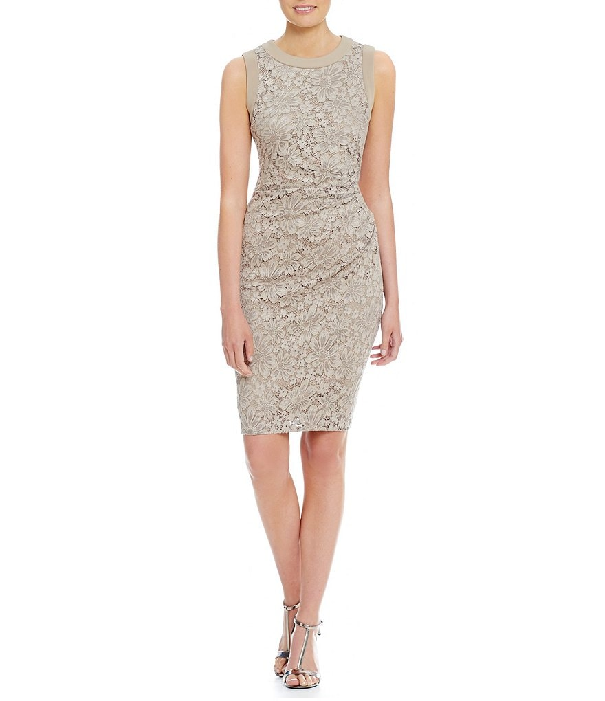 Calvin Klein All Over Lace Sheath Sleeveless Dress
