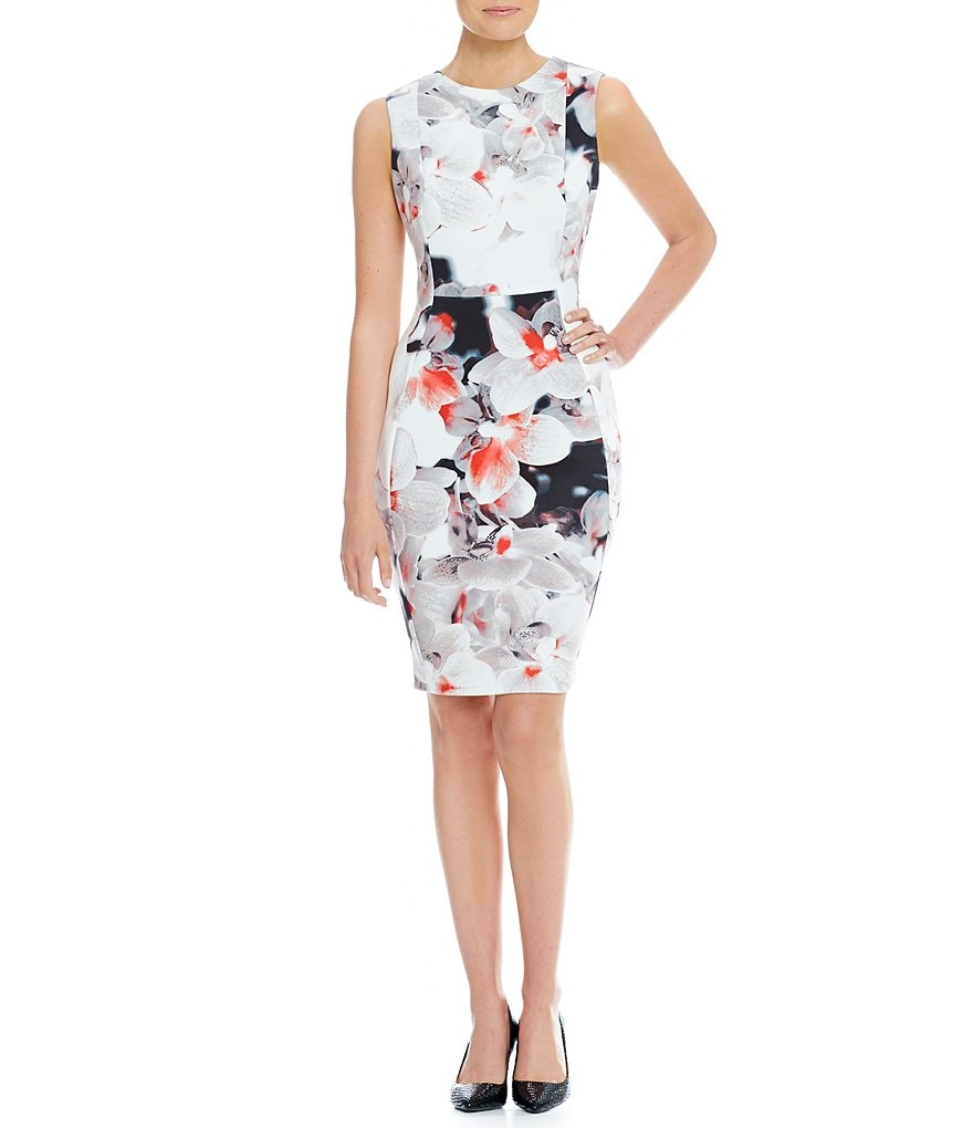 Calvin Klein Floral Scuba Sheath Sleeveless Dress
