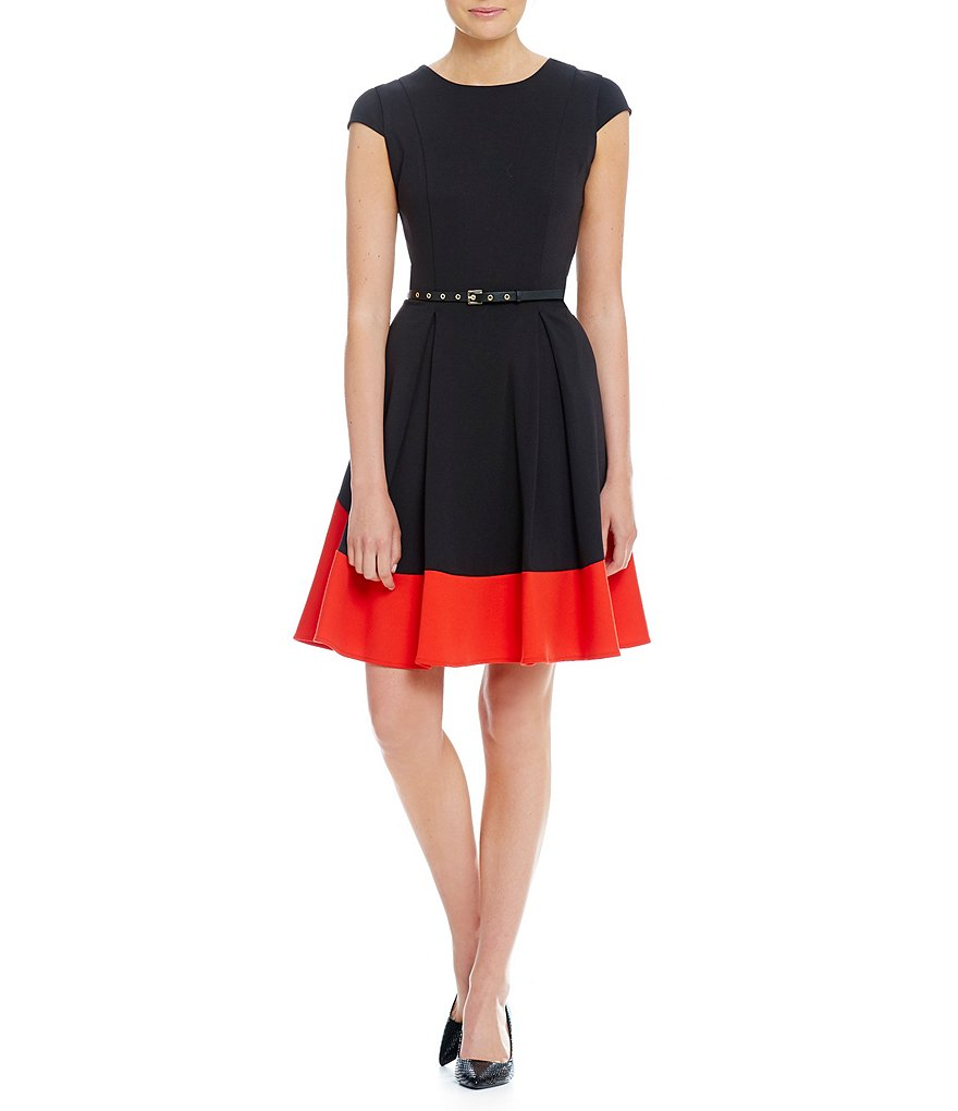 Calvin Klein Colorblock Fit and Flare Dress