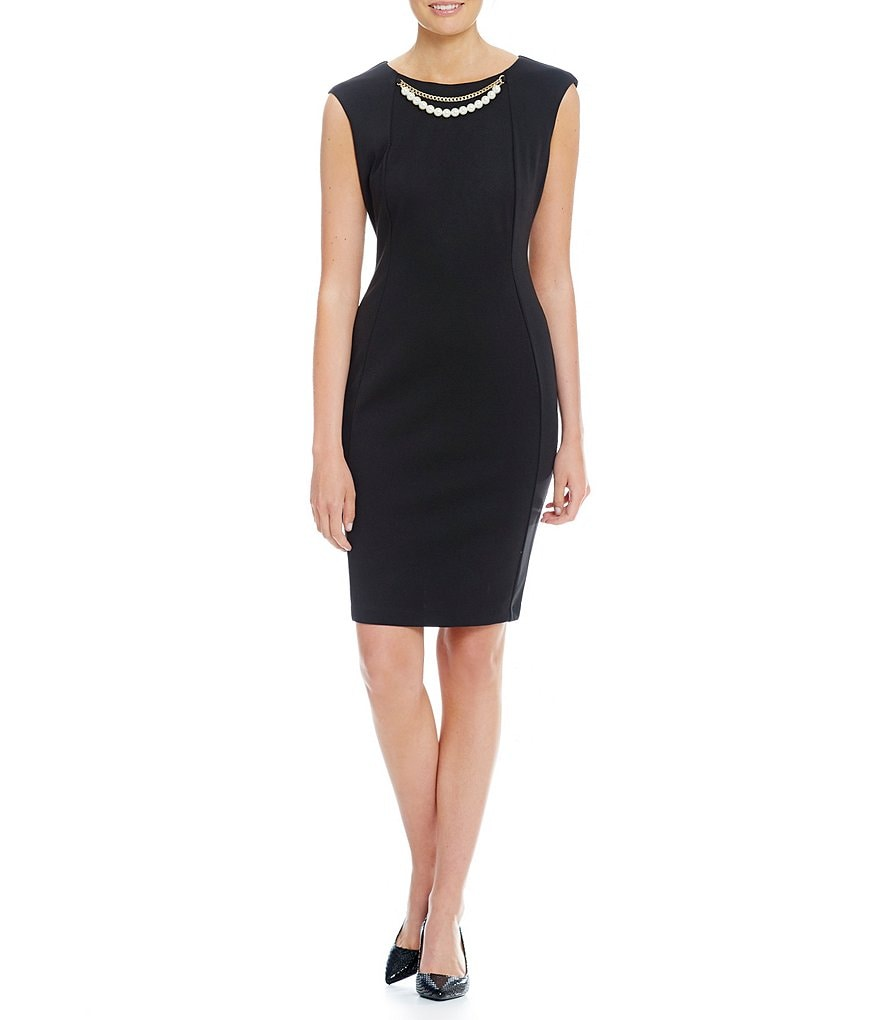 Calvin Klein Pearl Chain Necklace Sheath Dress