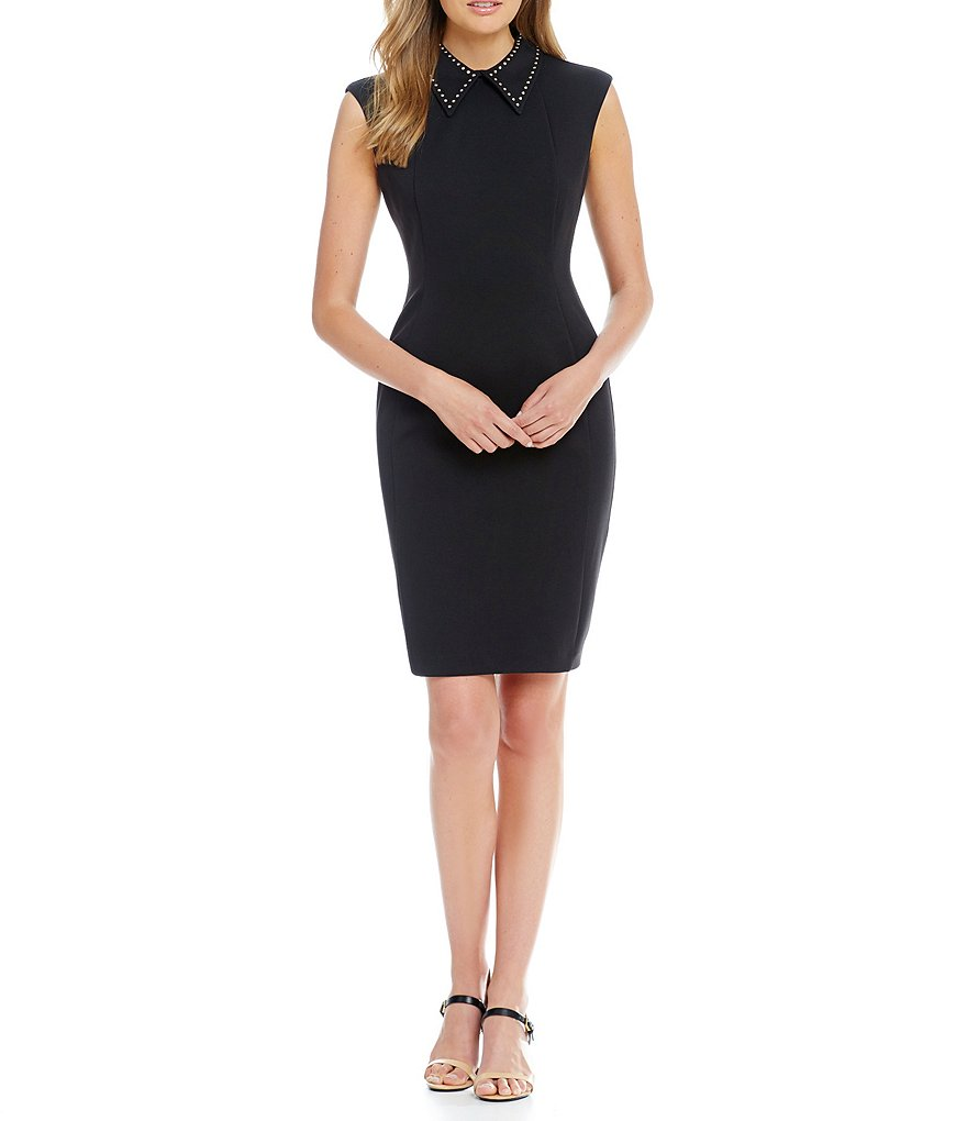 Calvin Klein Studded Collar Ponte Sheath Dress