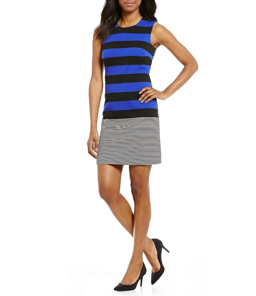 Calvin Klein Multi Striped Sheath Dress