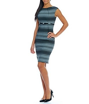 Calvin Klein Belted Striped Cap Sleeve Sheath Dress