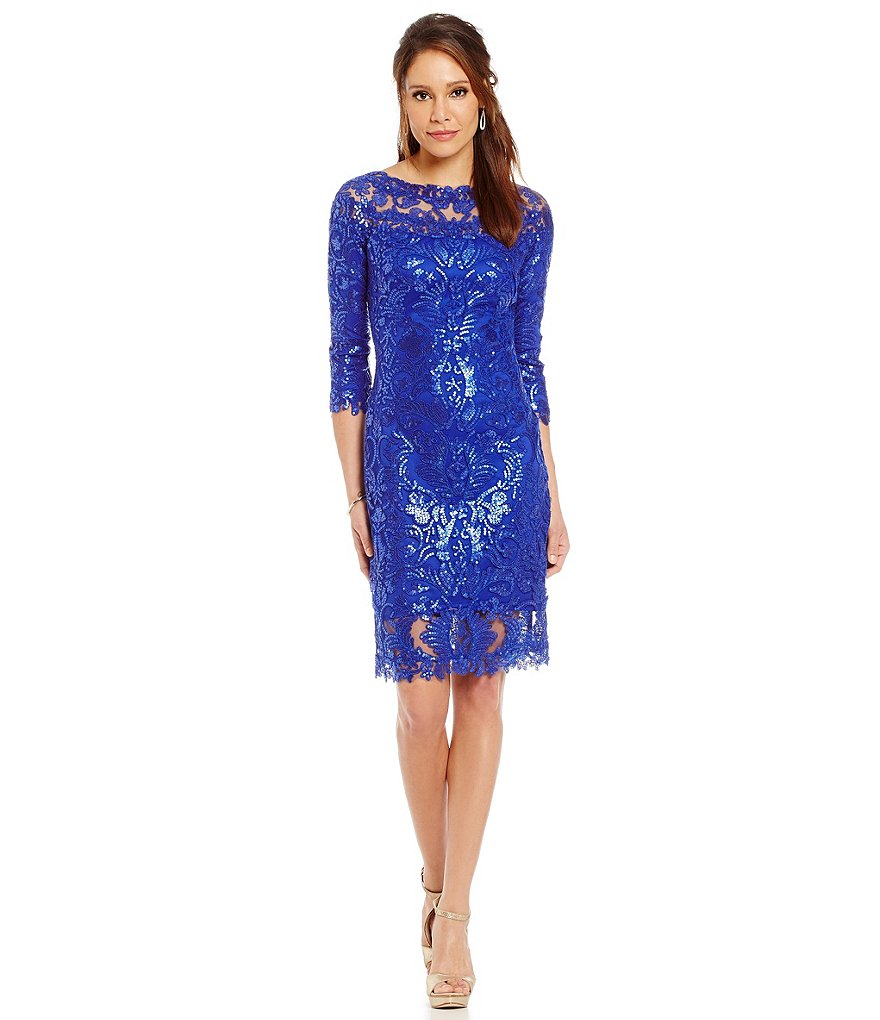 Tadashi Shoji Illusion Sequin Lace Sheath Dress