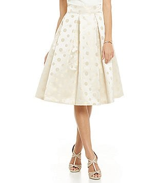 Eliza J Metallic Polka Dot Pleated Skirt