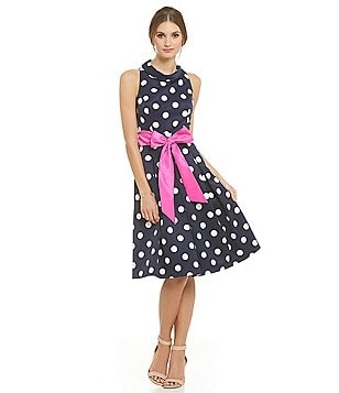 Eliza J Polka Dot Midi Dress