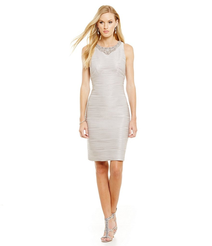 Eliza J Beaded Neck Wave Knit Sheath Dress