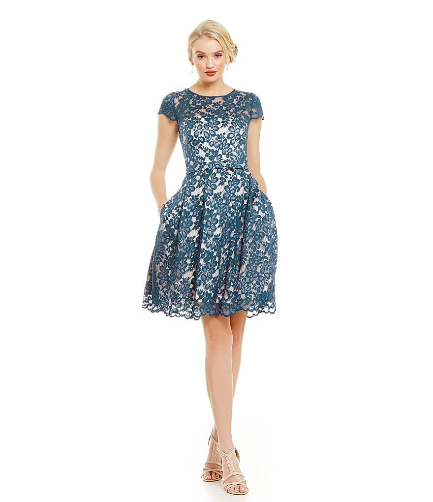 Eliza J Illusion Lace Fit and Flare Dress