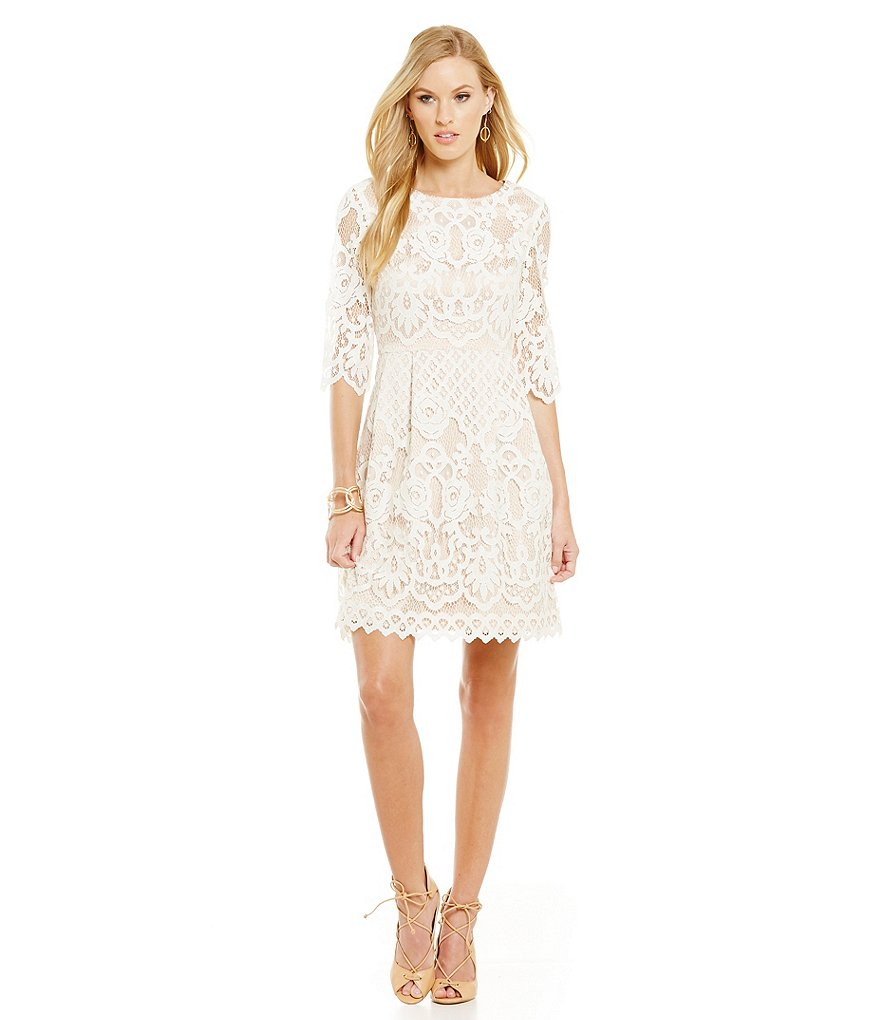 Eliza J Crochet Lace Illusion Scallop-Hem Fit-and-Flare Dress