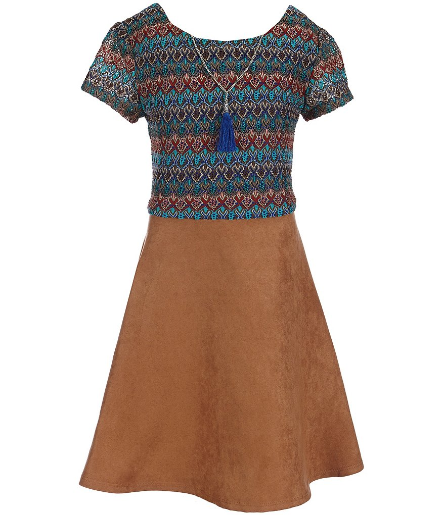 I.N. Girl Big Girls 7-16 Necklace Faux-Suede Dress