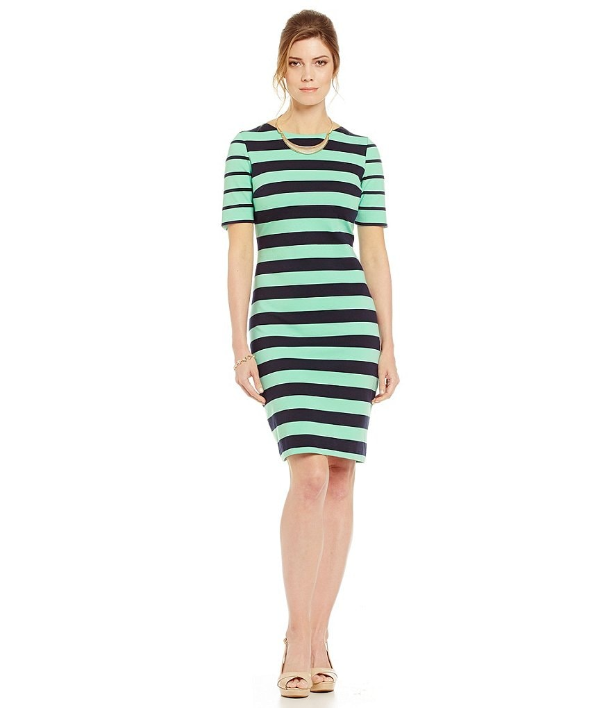 Alex Marie Shayla Striped Elbow Sleeve Dress